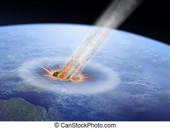 botsing, aarde, asteroïde