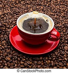 botsing, koffie, druppel, melk