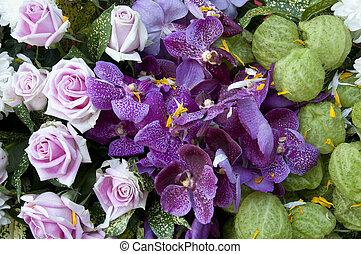 bouquetten, afsluiten, bloem, kleurrijke, boven.