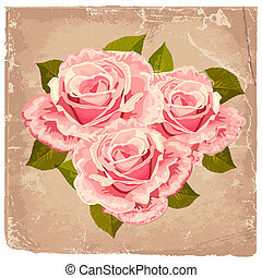 bouquetten, rozen, ontwerp, retro