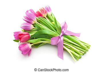 bouquetten, tulpen, bloemen, lente