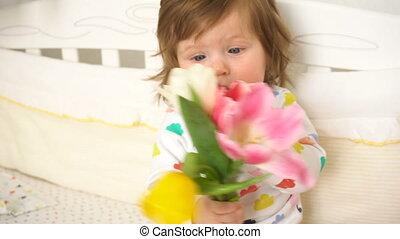 bouquetten, tulpen, klein meisje, baby