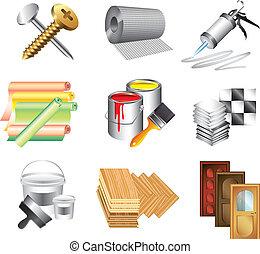 bouwmaterialen, set, vector, iconen