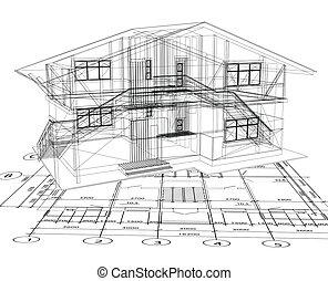 bouwschets, vector, house., architectuur