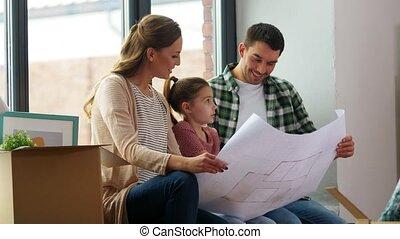 bouwschets, verhuizing, nieuw, gelukkige familie, thuis