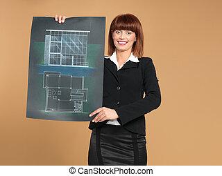 bouwschets, woning, het tonen, jonge, architect, aantrekkelijk