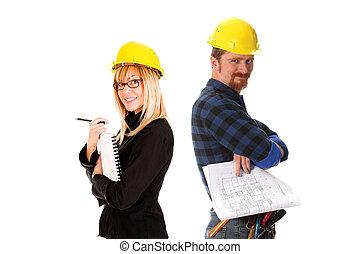 bouwsector, architect, arbeider
