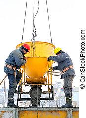 bouwsector, beton, werkmannen , het werkplaats