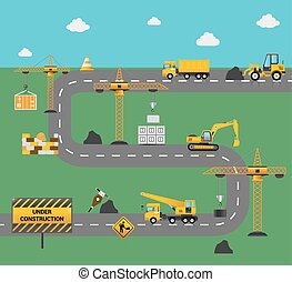 bouwsector, concept, straat