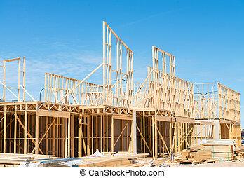bouwsector, nieuw, framing., thuis