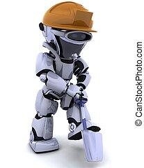 bouwsector, robot, spade