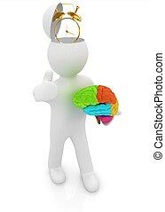 boven., concept, mensen, half tijd, -, hersenen, man, trumb, hoofd, klok, 3d