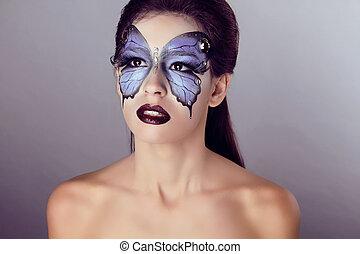 boven., vlinder, mode, kunst, maken, makeup, gezicht, mooi, portrait., woman.