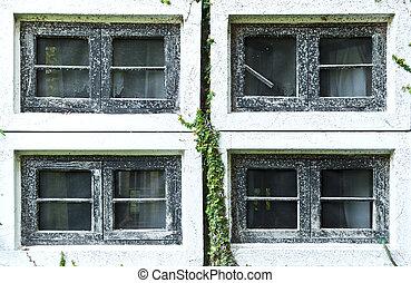 boven., woning, venster, oud, afsluiten