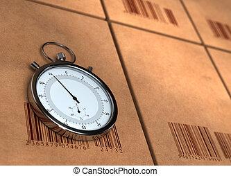 bovenkant, rechts, barecodes, links, render, ruimte, -, op, plaatste, kopie, vaag, dozen, chronometer, velen, stopwatch, karton, bovenkant, 3d