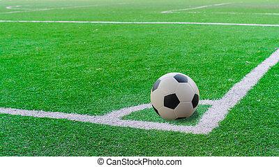 bovenzijde, akker, groen streep, witte , voetbal, aanzicht
