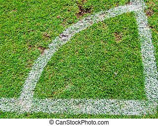 bovenzijde, akker, groene, hoek, voetbal, schop, aanzicht
