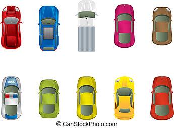 bovenzijde, anders, auto's, aanzicht