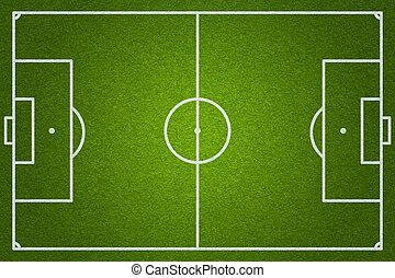 bovenzijde, football veld, voetbal, of, aanzicht