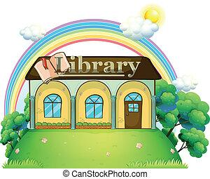 bovenzijde, heuvel, bibliotheek