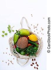 bovenzijde, shoppen , vrijstaand, zak, eco, groentes, witte , aanzicht, maas, organisch, achtergrond