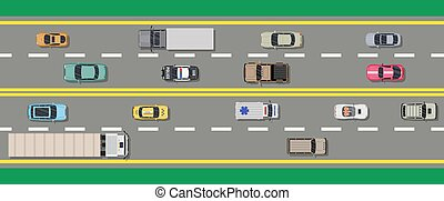 bovenzijde, verzameling, gevarieerd, vehicles., straat, aanzicht
