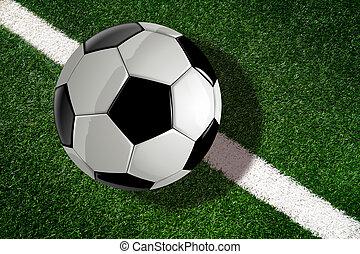 bovenzijde, voetbal, field., voetbal, lijn, of, aanzicht, bal
