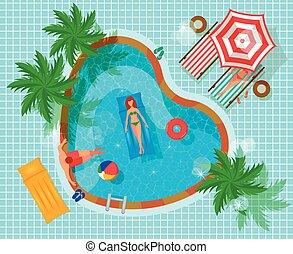 bovenzijde, zwemmen, samenstelling, pool, aanzicht