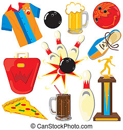 bowling, communie, clipart, iconen