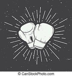 boxing, style., handschoenen, ouderwetse