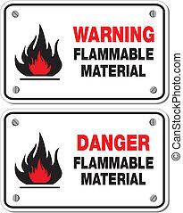 brandbaar, materiaal, waarschuwend