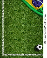 brazilie, akker, vlag, bal, voetbal
