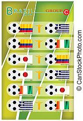 brazilie, c, voetbal, groep, toernooi, 2014
