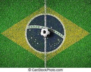 brazilie, centrum, voetbal, vlag, pek, voetbal, of