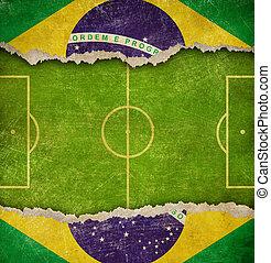 brazilie, grunge, football veld, vlag, voetbal, of