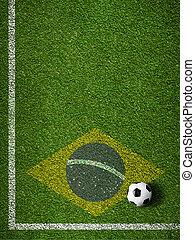 brazilie, voetbal, akker, vlag, gras