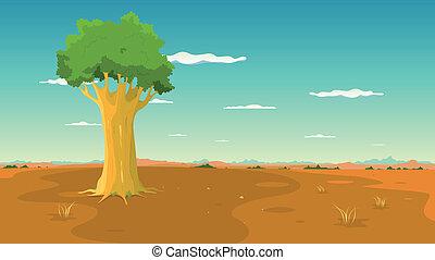 breed, binnen, boom landschap, vlakte