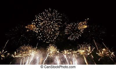 breed, fireworks., hoek, -, hd, aanzicht