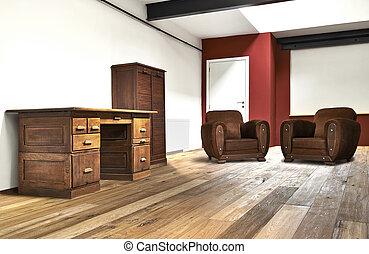 breed, kantoor, vloer, houten, zolder, interieur