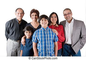 breidde uit, indiër, gezin