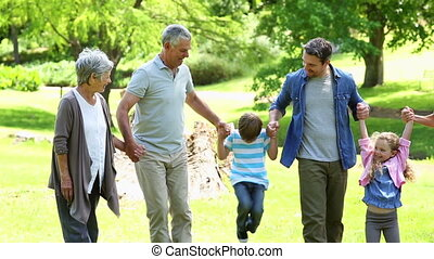 breidde uit, staand, park, gezin