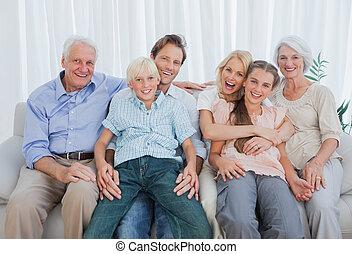 breidde uit, verticaal, bankstel, gezin, zittende