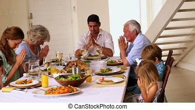 breidde uit, zijn, samen, biddend, gezin
