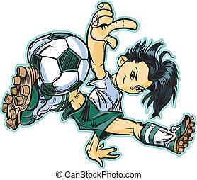 breken, meisje, voetbal, aziaat, dancing