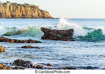 brekende golf, californië, coast., rots, voor de kust