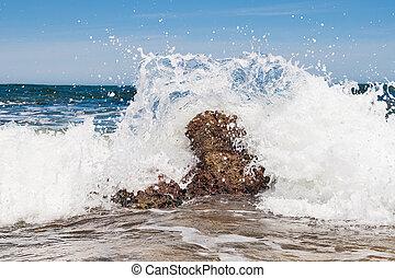 brekende golven, rots