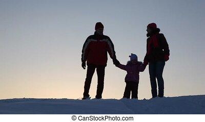 brengen onder, silhouette, drie, gezin