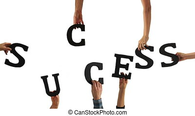 brief, succes, handen