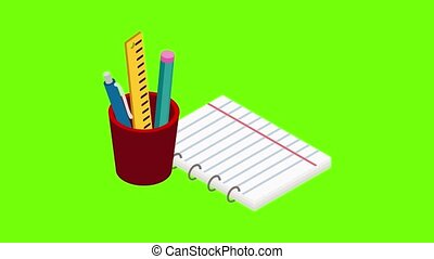 briefpapier, pictogram, animatie