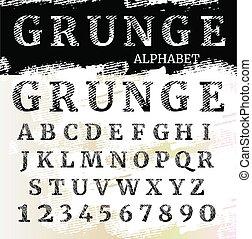 brieven, alphabet., textured, grunge, font., numbers.